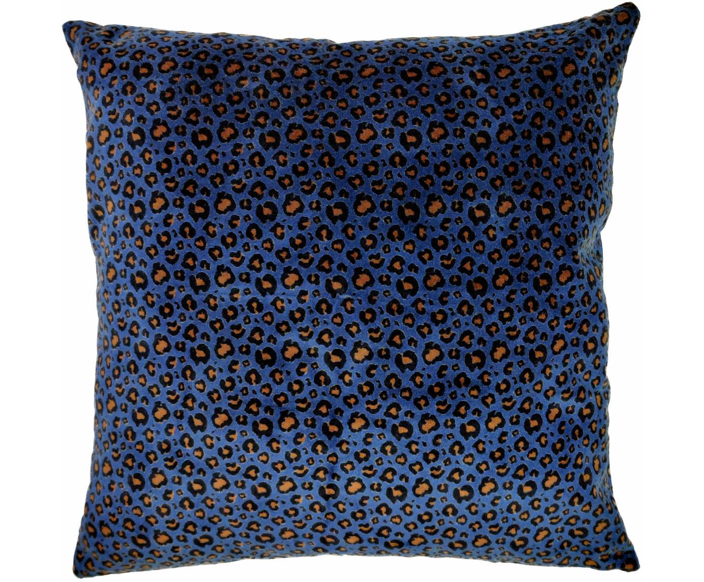 Poduszka z aksamitu z wypełnieniem Leopard, Tapicerka: 100% bawełna, Niebieski, czarny, beżowy, S 45 x D 45 cm