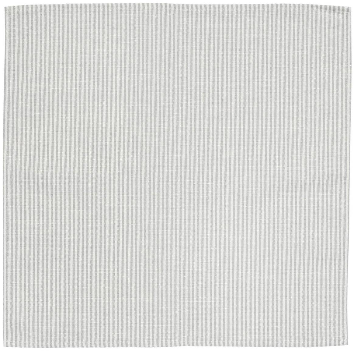 Stoff-Servietten Streifen aus Halbleinen, 6 Stück, Weiß, Grau, 45 x 45 cm