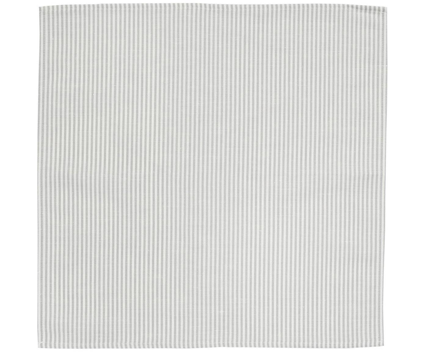Stoff-Servietten Streifen aus Halbleinen, 6 Stück, Weiss, Grau, 45 x 45 cm