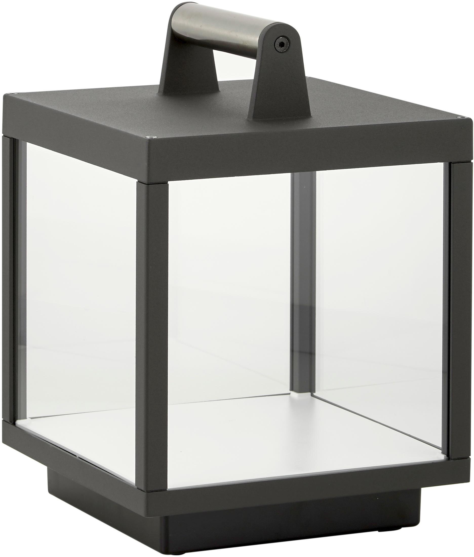 Mobile LED Außentischleuchte Kerala, Rahmen: Aluminium, pulverbeschich, Griff: Aluminium, verchromt, Grau, 18 x 27 cm