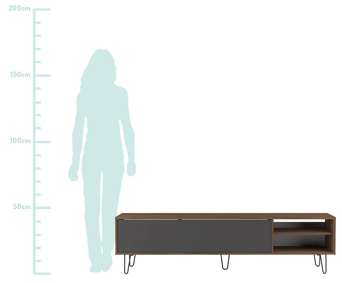 Szafka RTV z drzwiczkami Aero, Korpus: płyta wiórowa pokryta mel, Nogi: metal lakierowany, Szary, drewno orzecha włoskiego, S 165 x W 44 cm