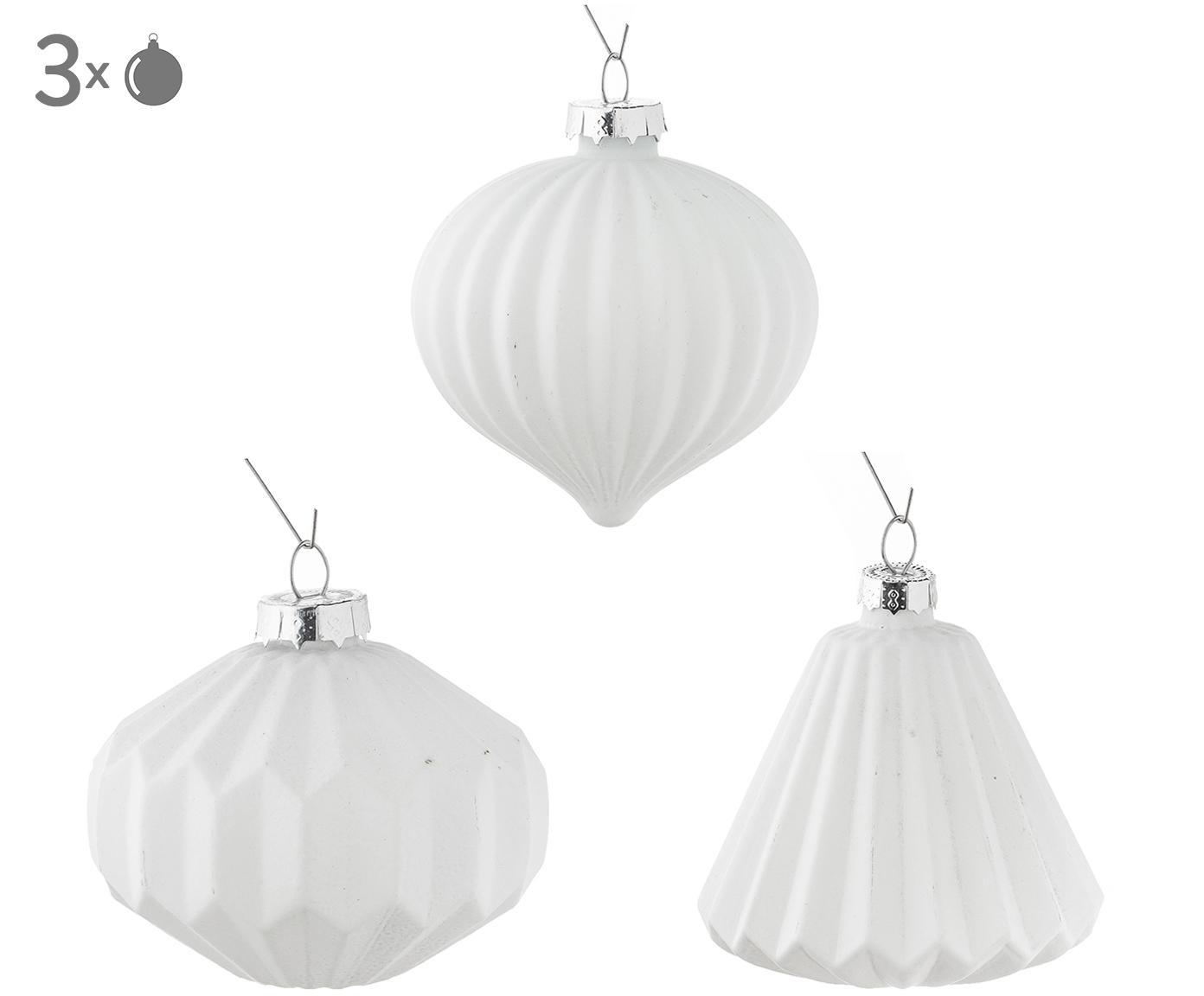 Set sfere di Natale Origami, 3 pz., Bianco, Ø 8 x A 9 cm