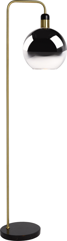 Stehlampe Julius mit Marmorfuß, Lampenschirm: Glas, Gestell: Metall, lackiert, Lampenfuß: Marmor, Grau, Messingfarben, Schwarz, 28 x 158 cm