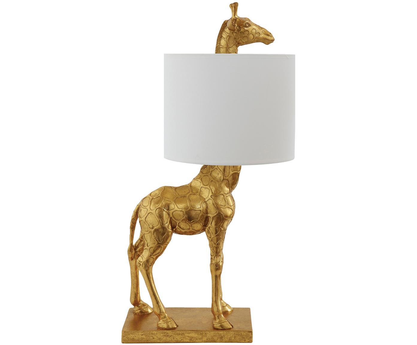 Lámpara de mesa de lino Epigaea, Pantalla: lino, Cable: plástico, Dorado, blanco, An 35 x Al 70 cm
