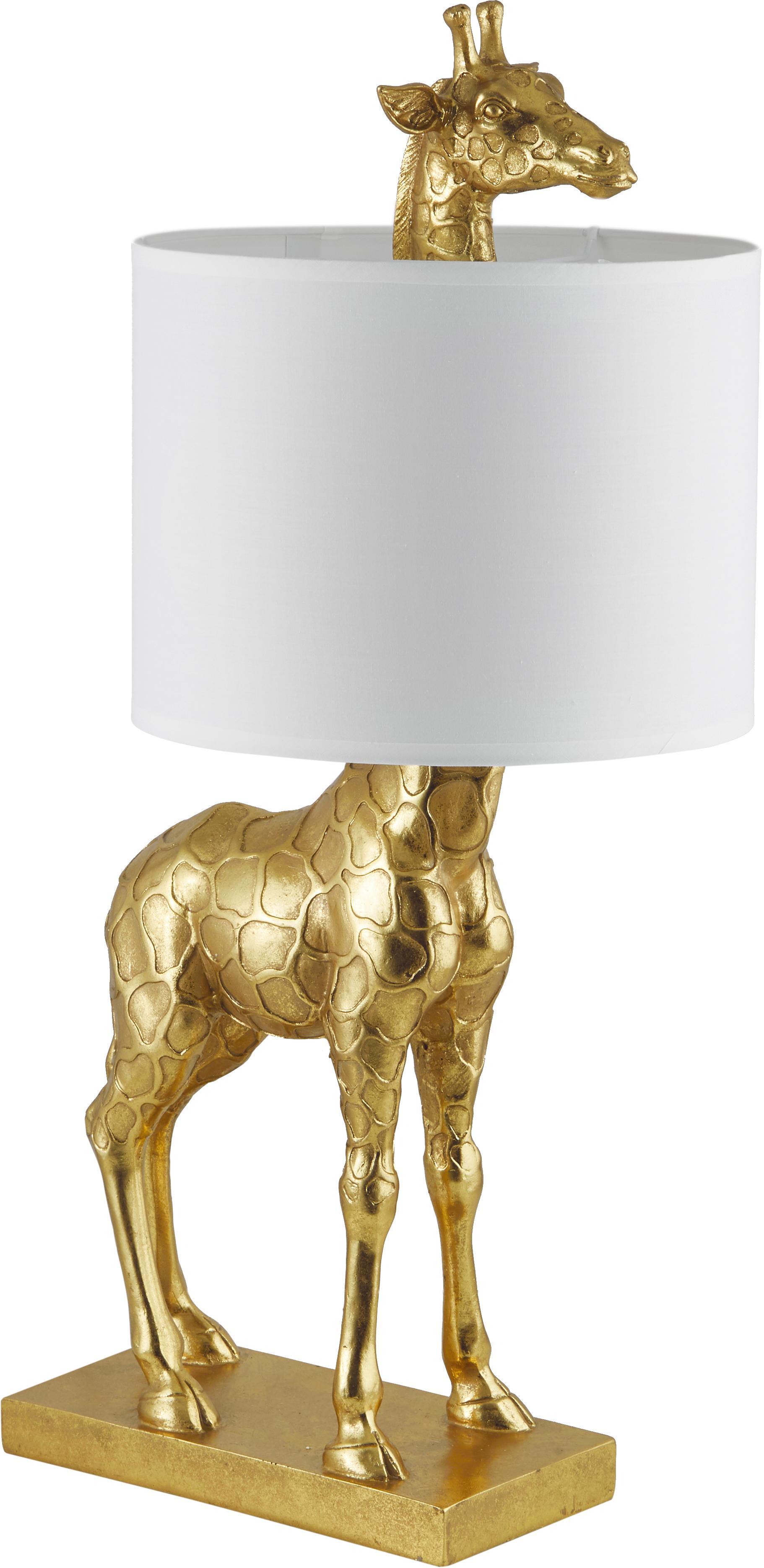 Grosse Design-Tischlampe Epigaea mit Leinenschirm, Lampenschirm: Leinen, Goldfarben, Weiss, 35 x 70 cm