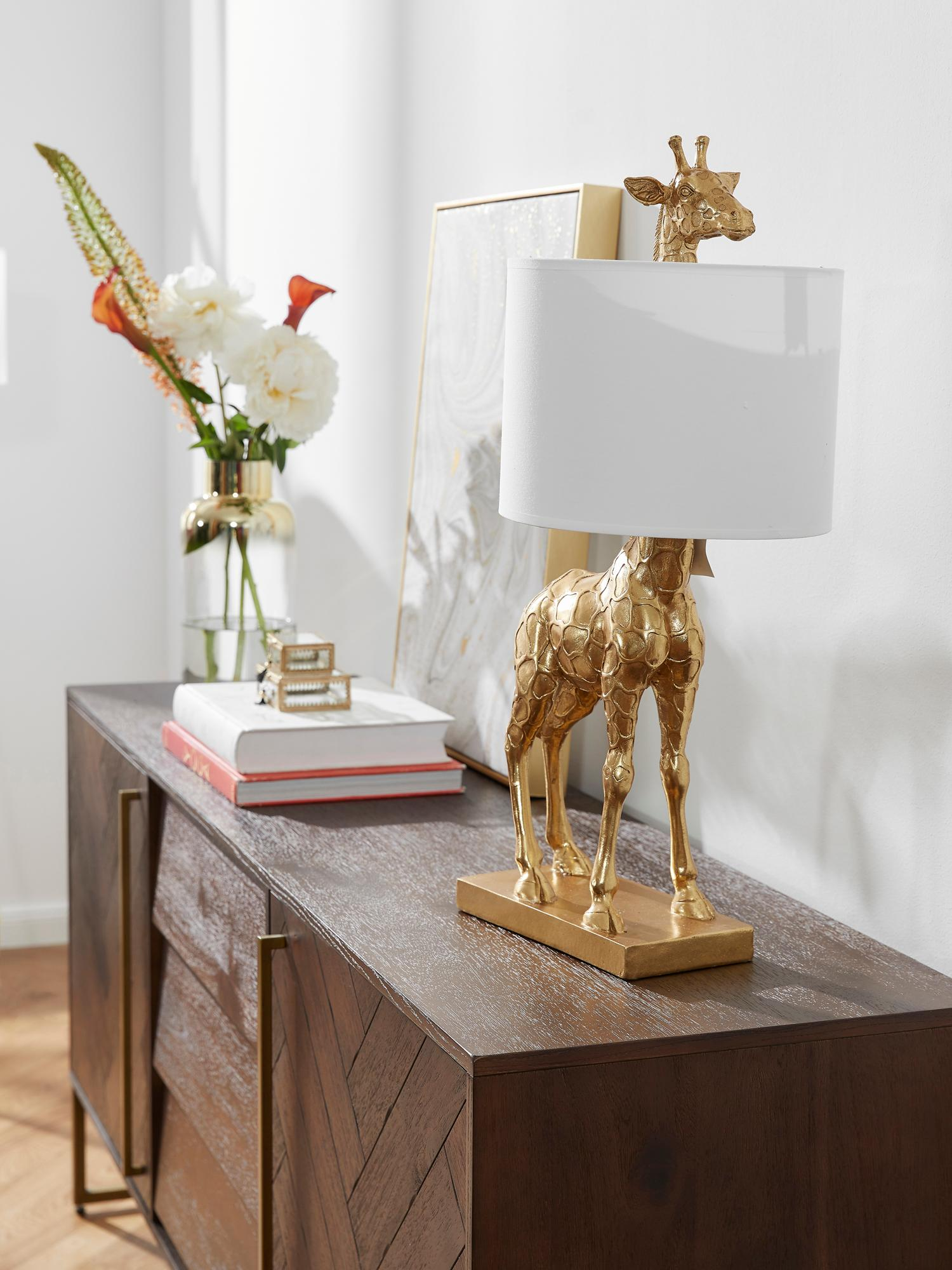 Große Design-Tischlampe Epigaea mit Leinenschirm, Lampenfuß: Polyresin, Lampenschirm: Leinen, Goldfarben, Weiß, 35 x 70 cm