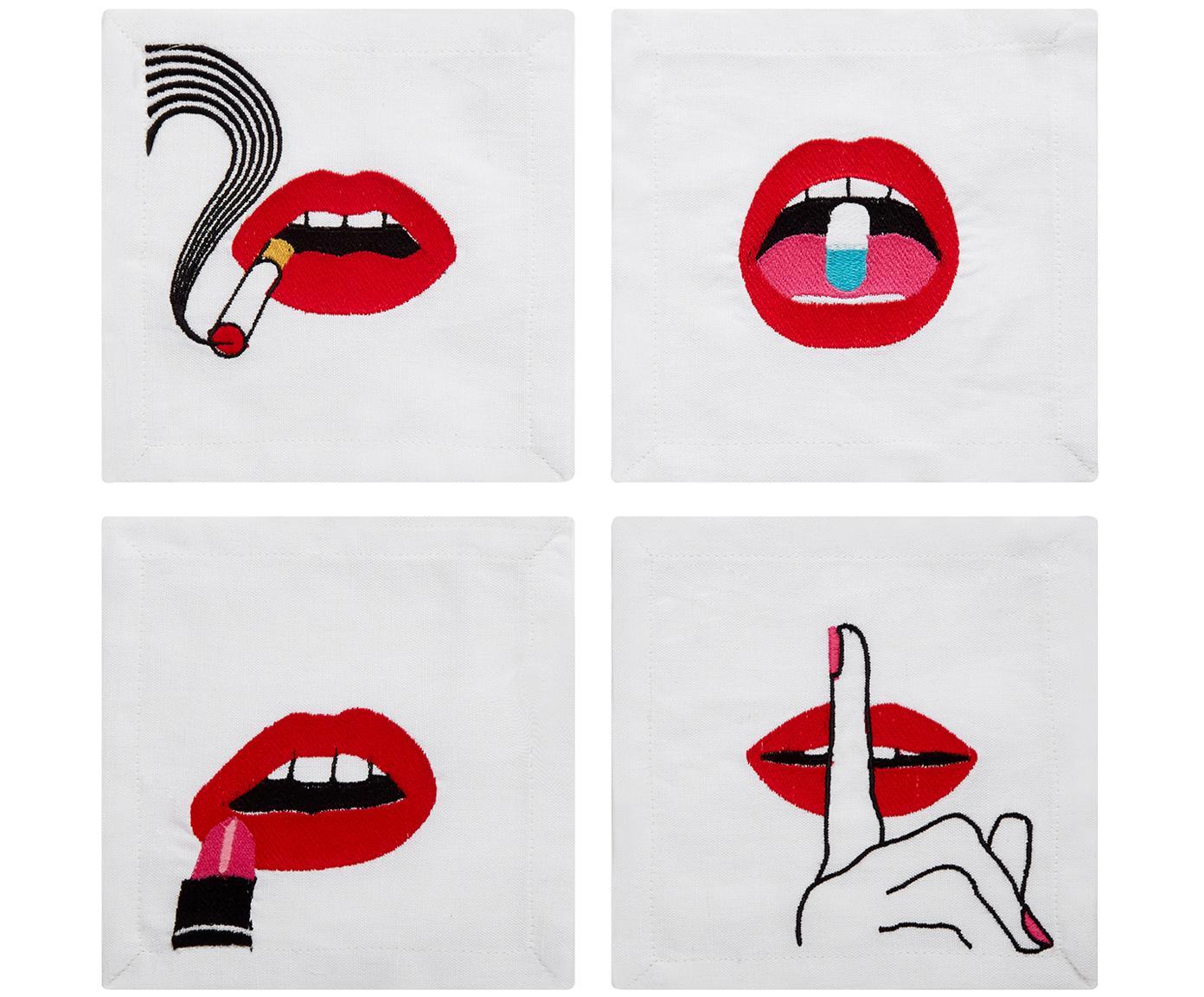 Set de servilletas cóctel en lino de diseño Muzzy, 4 pzas., Lino, Blanco, rojo, negro, L 15 x An 15 cm