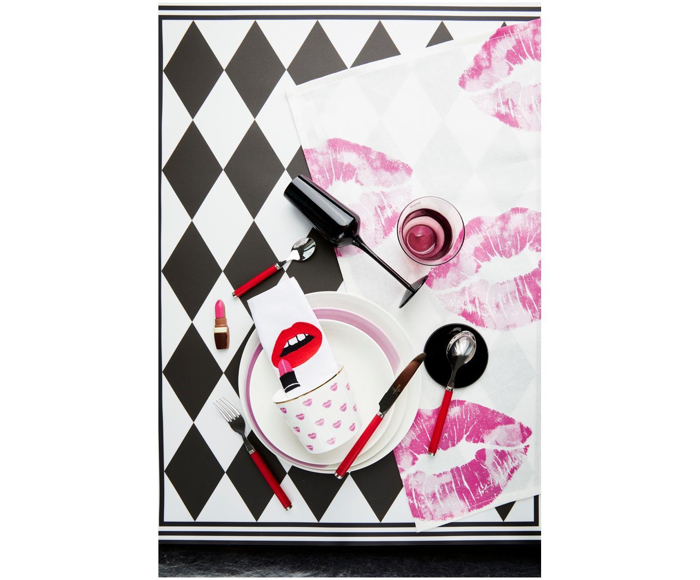 Designer Cocktail-Leinen-Servietten Muzzy, 4er-Set, Leinen, Weiß, Rot, Schwarz, 15 x 15 cm