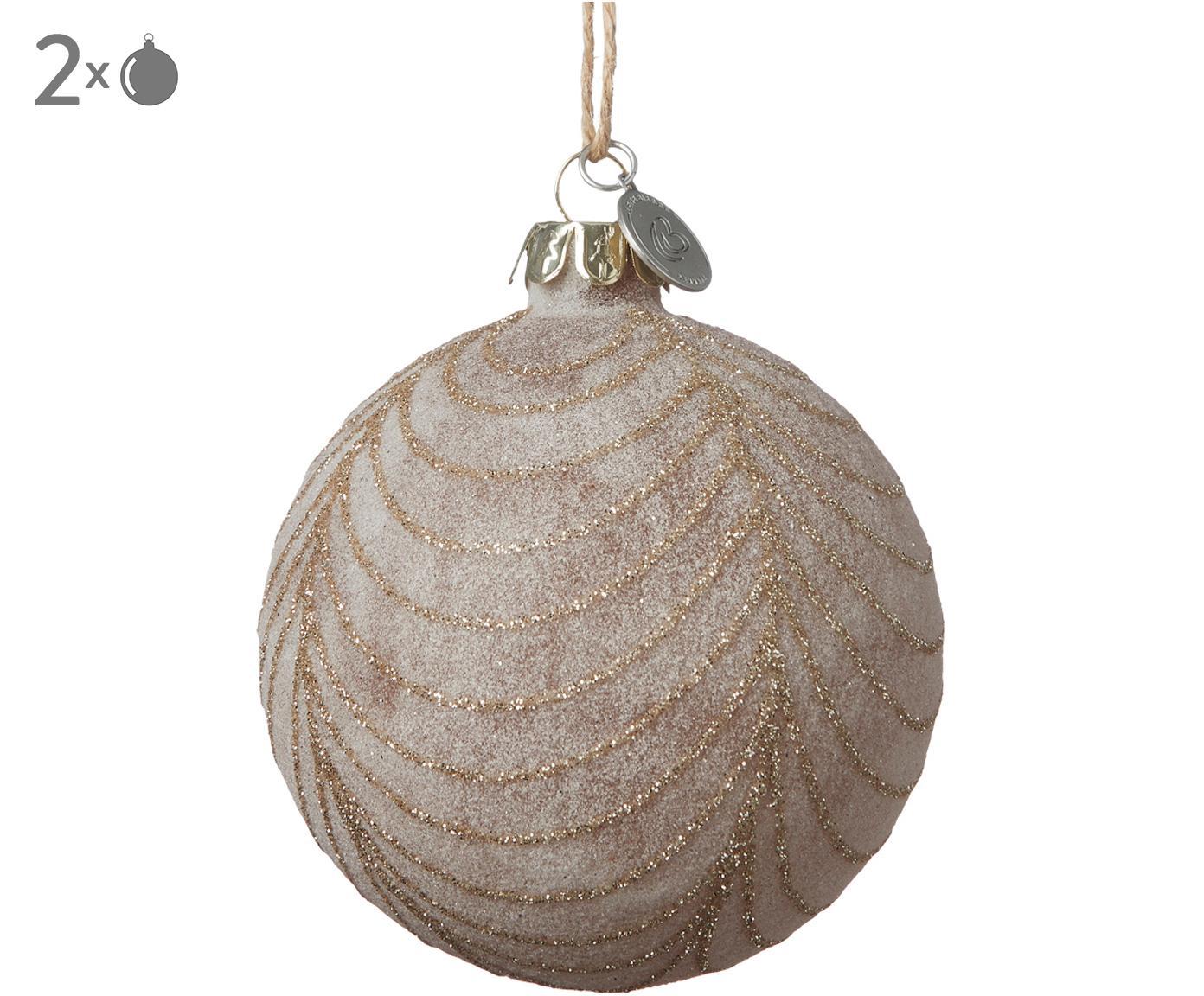 Palle di Natale Frostine, 2 pz., Rosa chiaro, dorato, Ø 8 x Alt. 8 cm