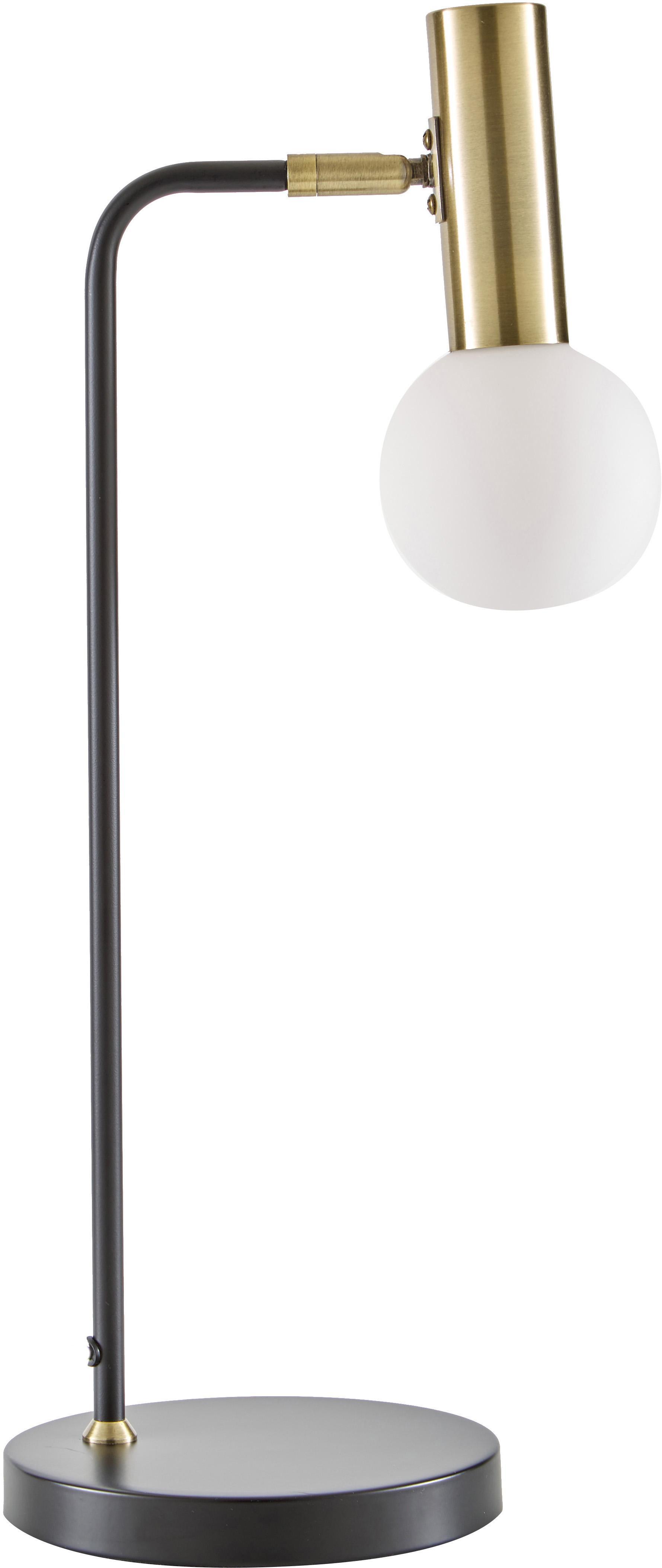 Große Schreibtischlampe Wilson mit Glasschirm, Lampenschirm: Glas, Lampenfuß: Metall, Schwarz, 22 x 54 cm