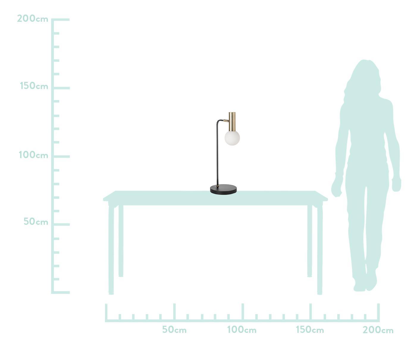Grosse Schreibtischlampe Wilson mit Glasschirm, Lampenschirm: Glas, Schwarz, 22 x 54 cm