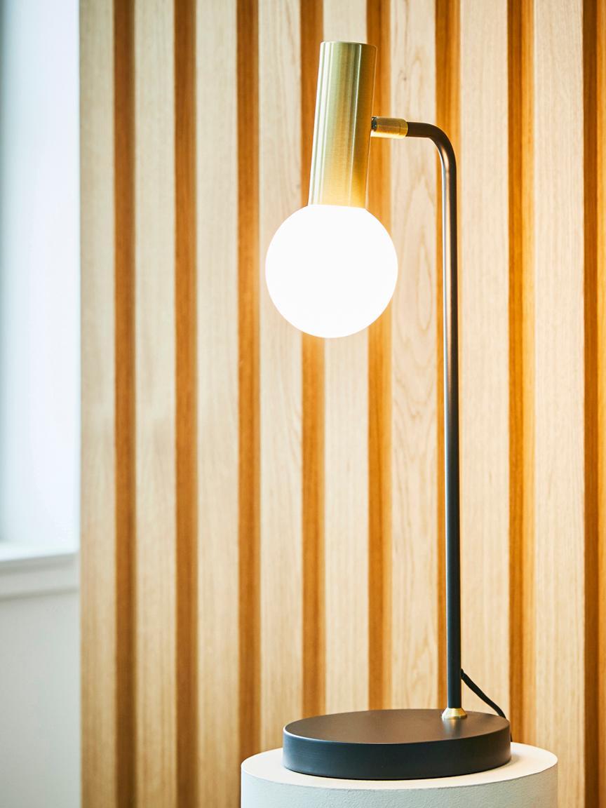 Lámpara de escritorio Wilson, Pantalla: vidrio, Cable: cubierto en tela, Negro, An 22 x Al 54 cm