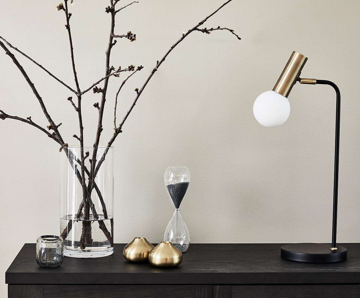 LED tafellamp Wilson, Lampvoet: metaal, Lampenkap: glas, Zwart, 22 x 54 cm