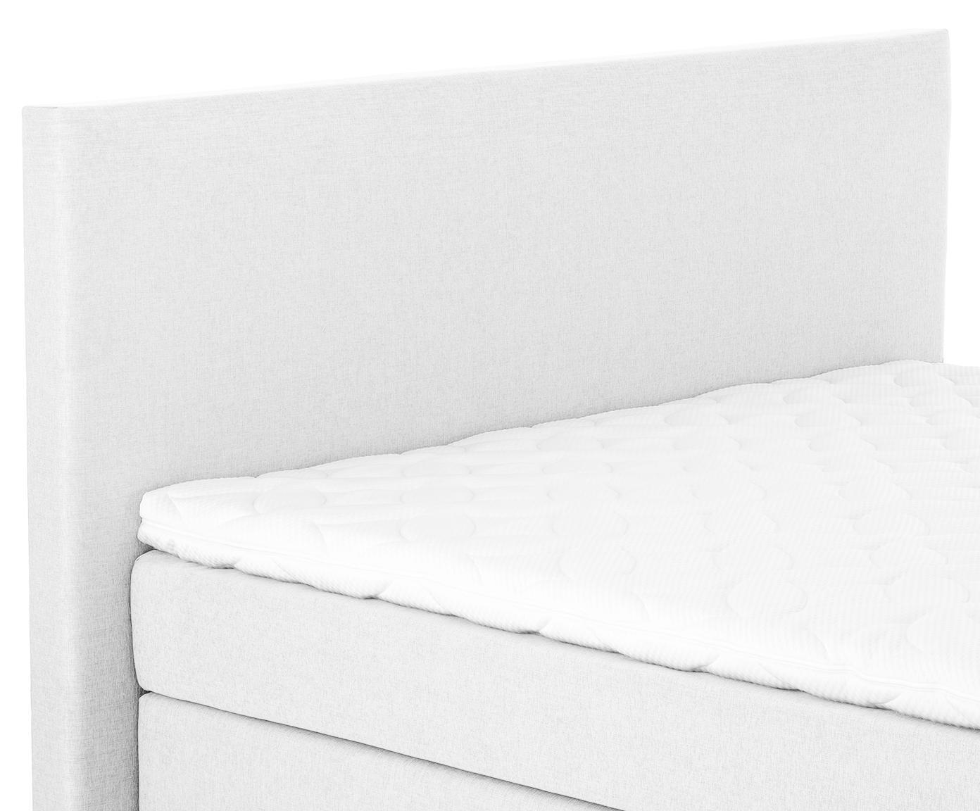 Premium boxspring bed Eliza, Matras: 7-zones-pocketveringkern , Poten: massief gelakt beukenhout, Licht witgrijs, 160 x 200 cm