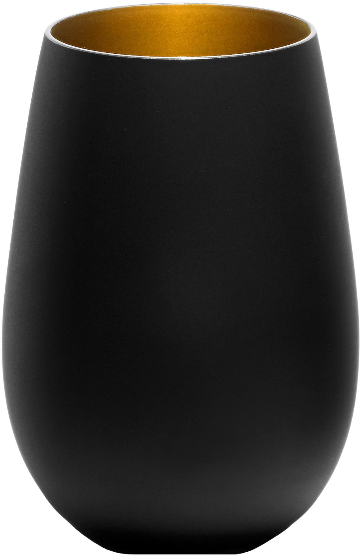 Vasos highball de cristal Elements, 6uds., Cristal recubierto, Negro, latón, Ø 9 x Al 12 cm