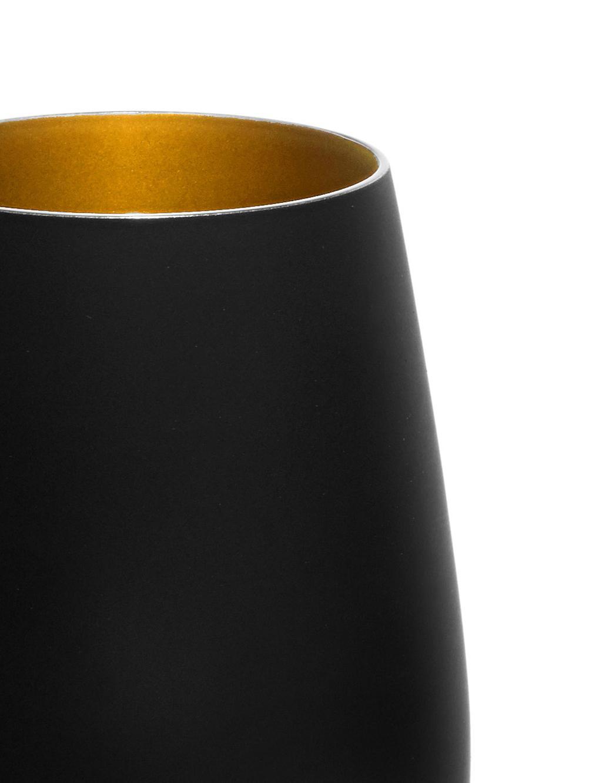 Kristall-Longdrinkgläser Elements in Schwarz/Gold, 6er-Set, Kristallglas, beschichtet, Schwarz, Messingfarben, Ø 9 x H 12 cm