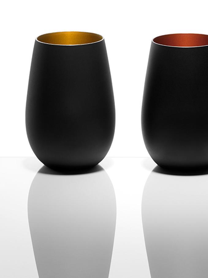 Bicchiere tipo long drink in cristallo Elements 6 pz, Cristallo, rivestito, Nero, ottonato, Ø 9 x Alt. 12 cm