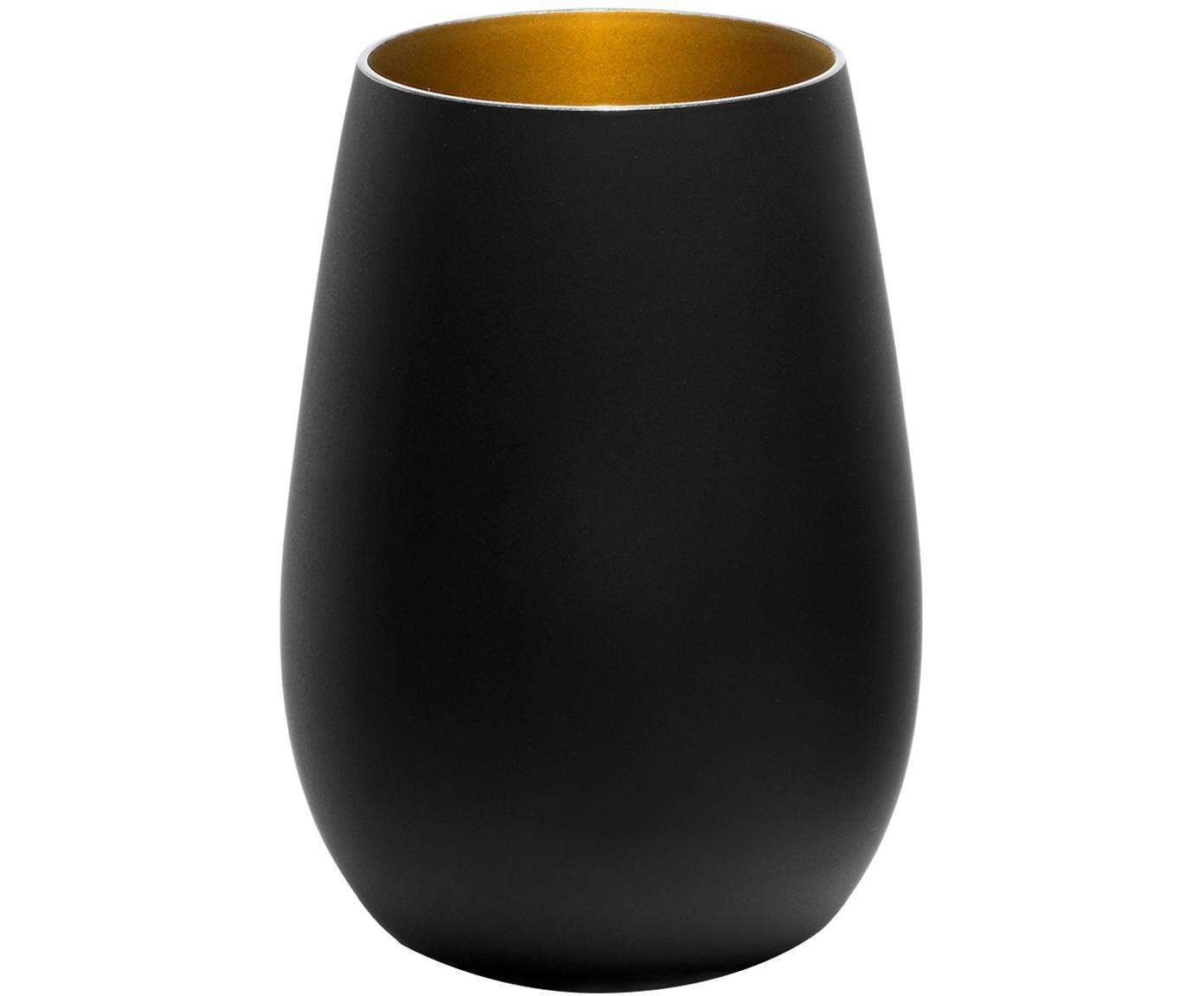 Kristal longdrinkglas Elements in zwart/goudkleurig, 6er-set, Kristalglas, gecoat, Zwart, messingkleurig, Ø 9 x H 12 cm