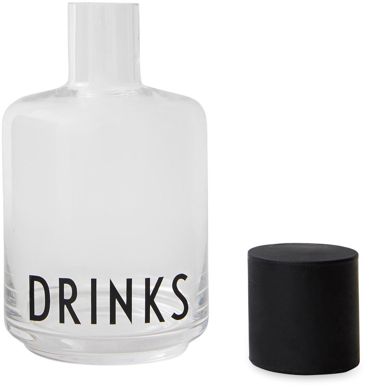 Bottiglia in vetro con scritta Drinks, Coperchio: silicone, Trasparente, nero, 500 ml
