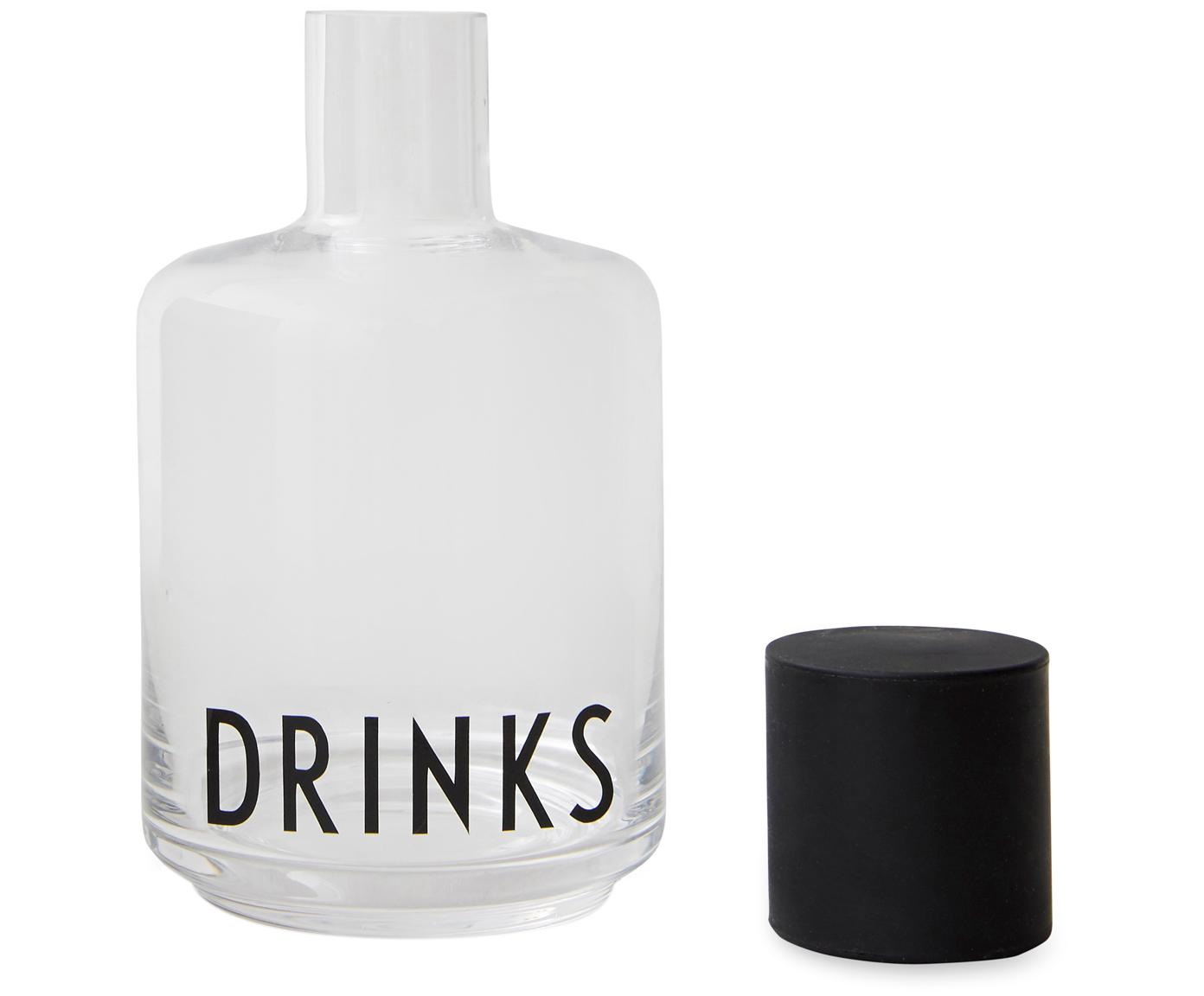 Design Karaffe Drinks mit Schriftzug, Deckel: Silikon, Transparent, Schwarz, 500 ml