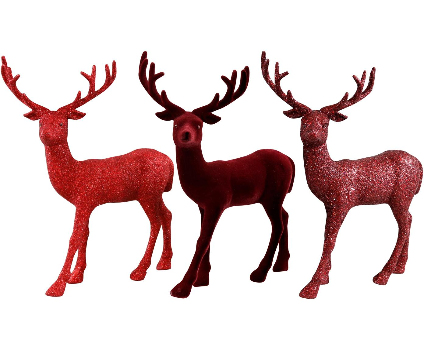 Set de figuras decorativas Splendid, 3pzas., Espuma de poliestireno, purpurina, Rojo, An 23 x Al 30 cm