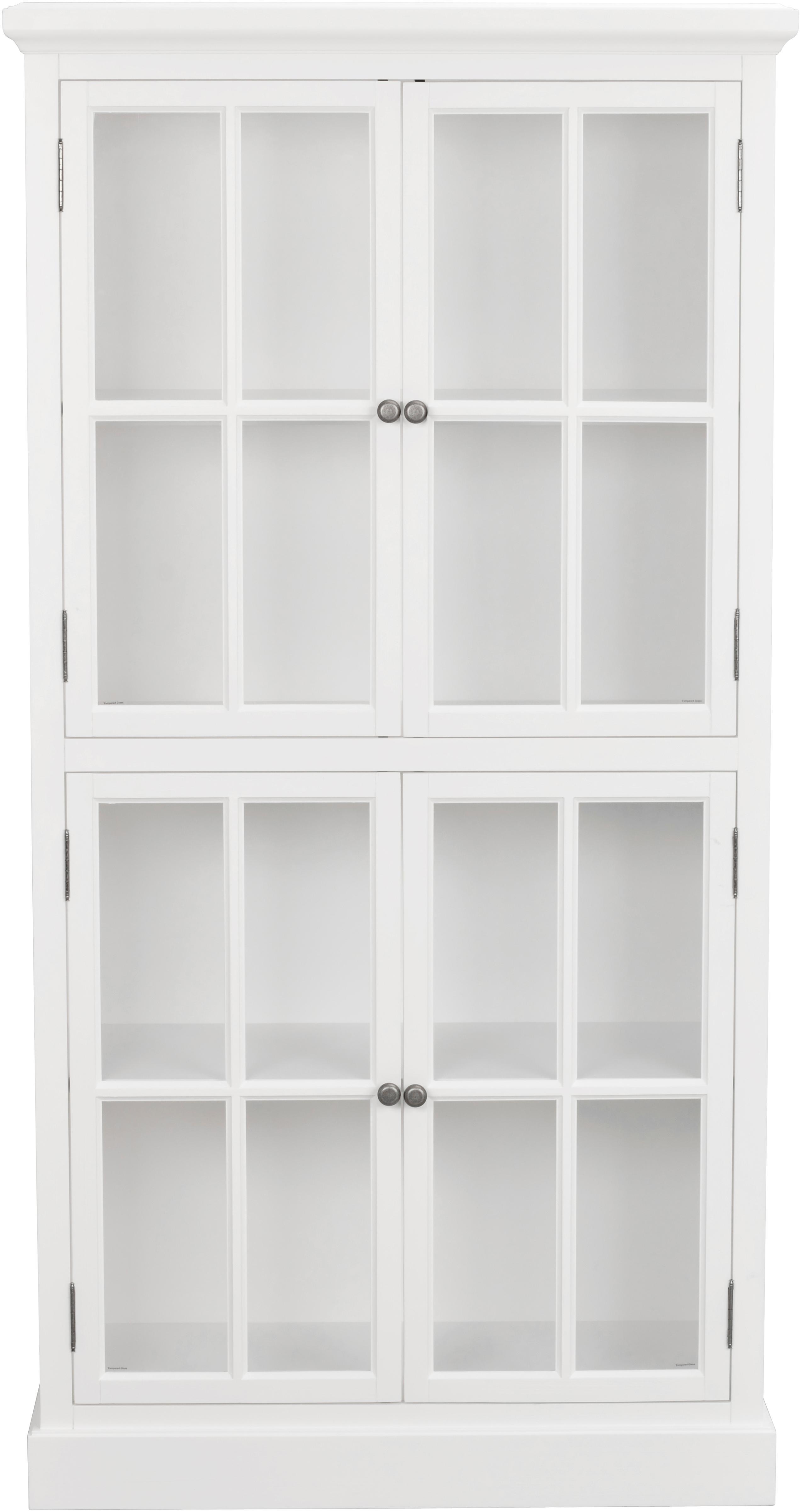 Vitrinekast Lorient in wit, Gelakt grenenhout, MDF, Wit, 95 x 185 cm