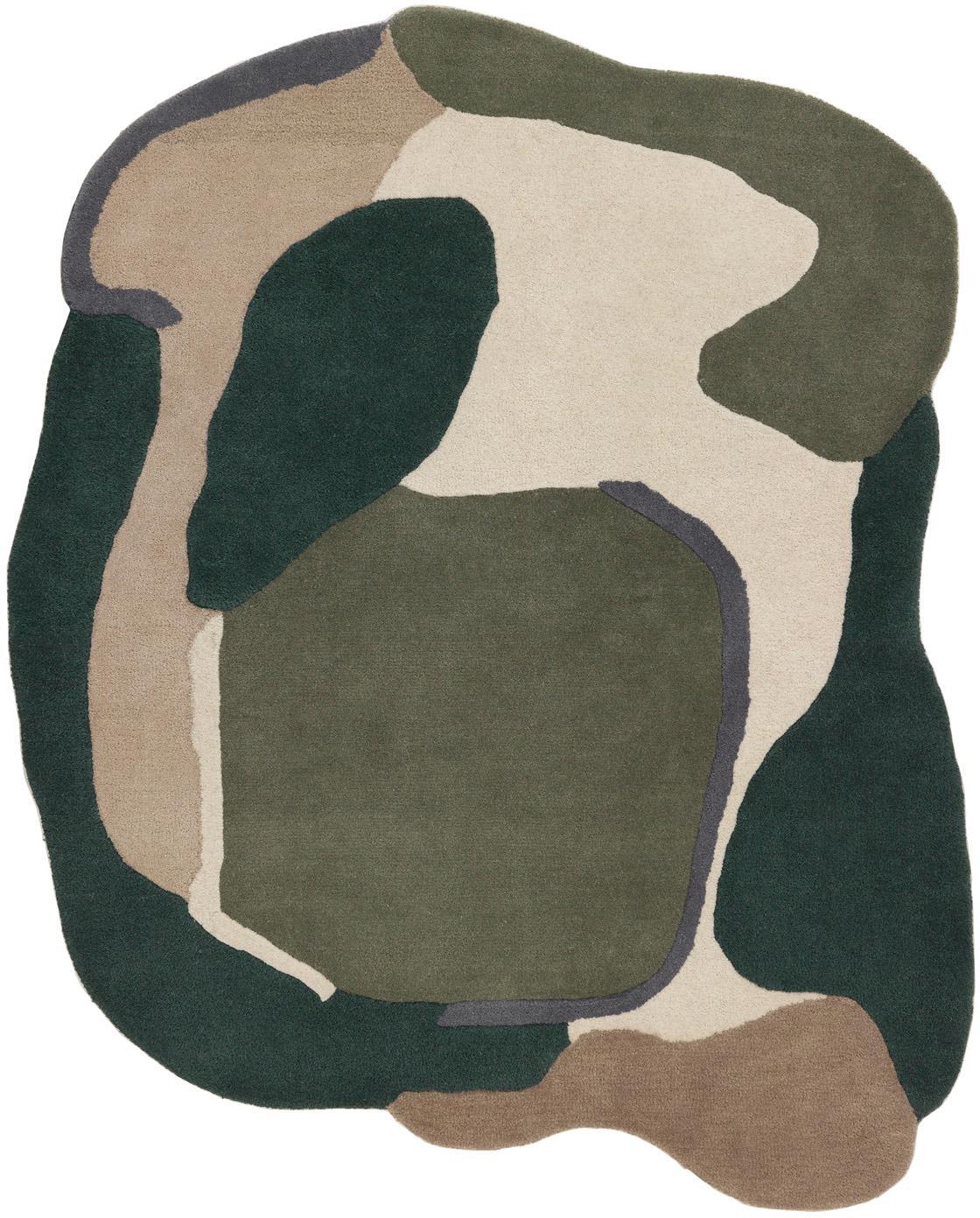 Wollen vloerkleed Oblivian met hoog-laag effect, Bovenzijde: wol, Groen, beige, B 140 x L 180 cm (maat S)