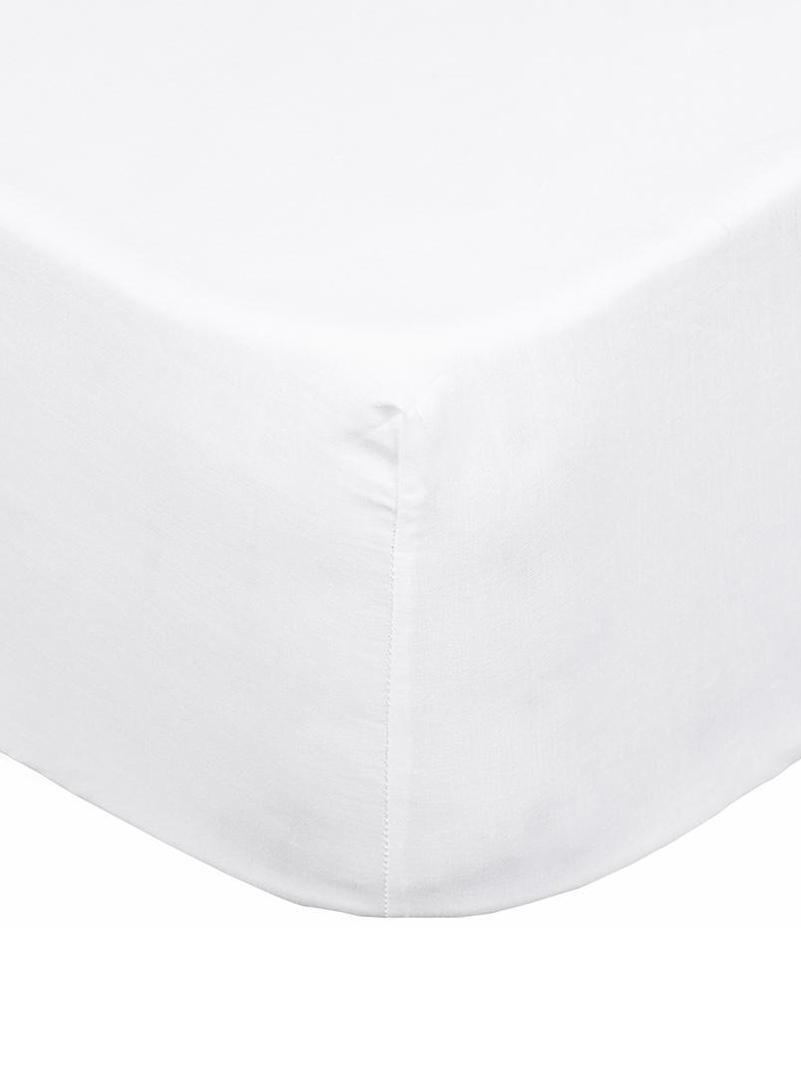 Sábana bajera Brunoba, 50%algodón, 50%poliéster, Blanco, Cama 150 cm (150 x 200 cm)