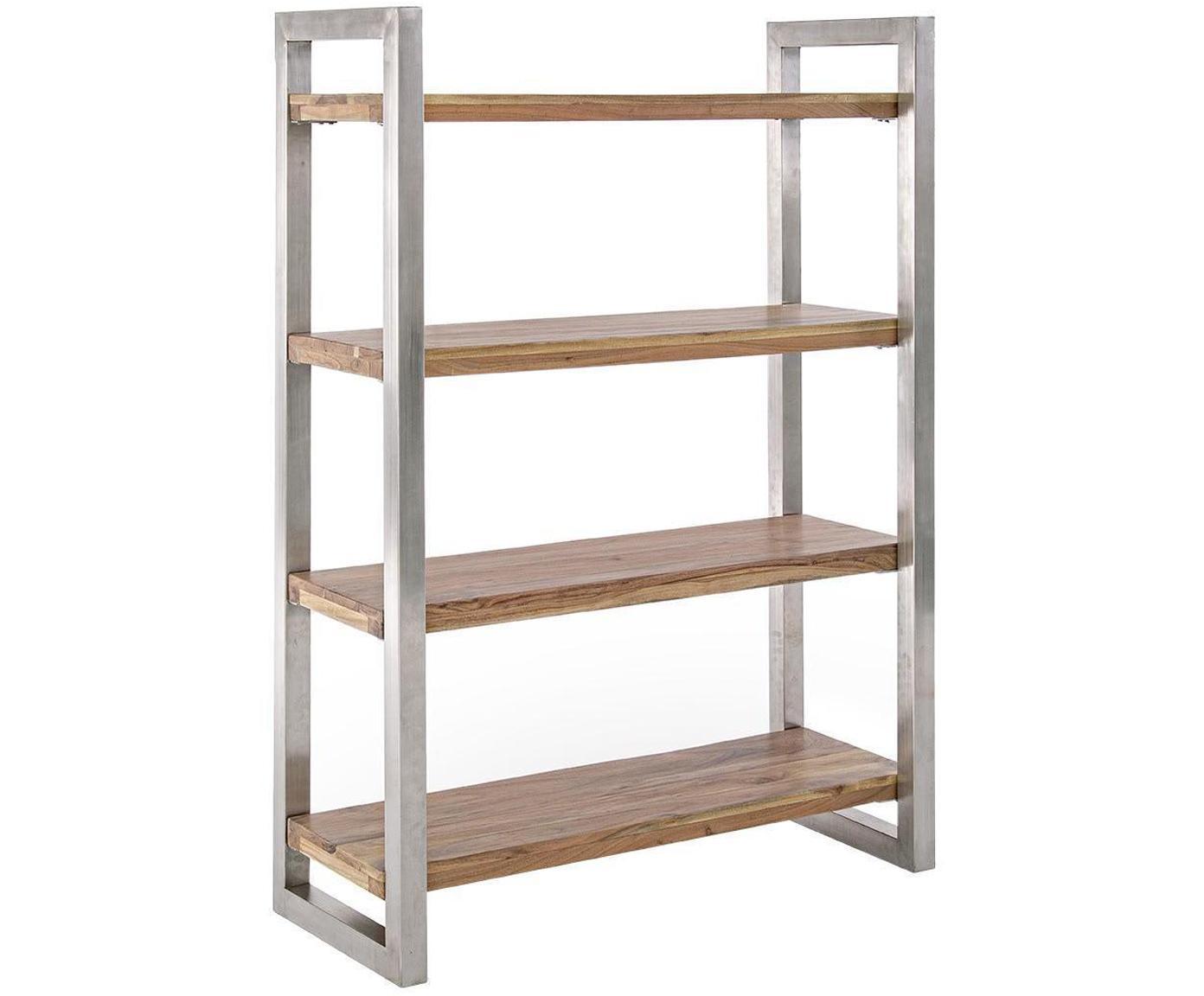 Estantería Osbert, Estructura: acero, Estantes: madera de acacia, Acacia, plateado, An 110 x Al 150 cm