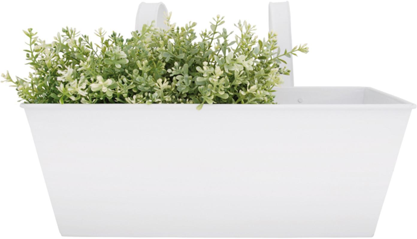 XL Balkon-Übertopf Larissa aus Metall, Metall, beschichtet, Weiß, 40 x 23 cm