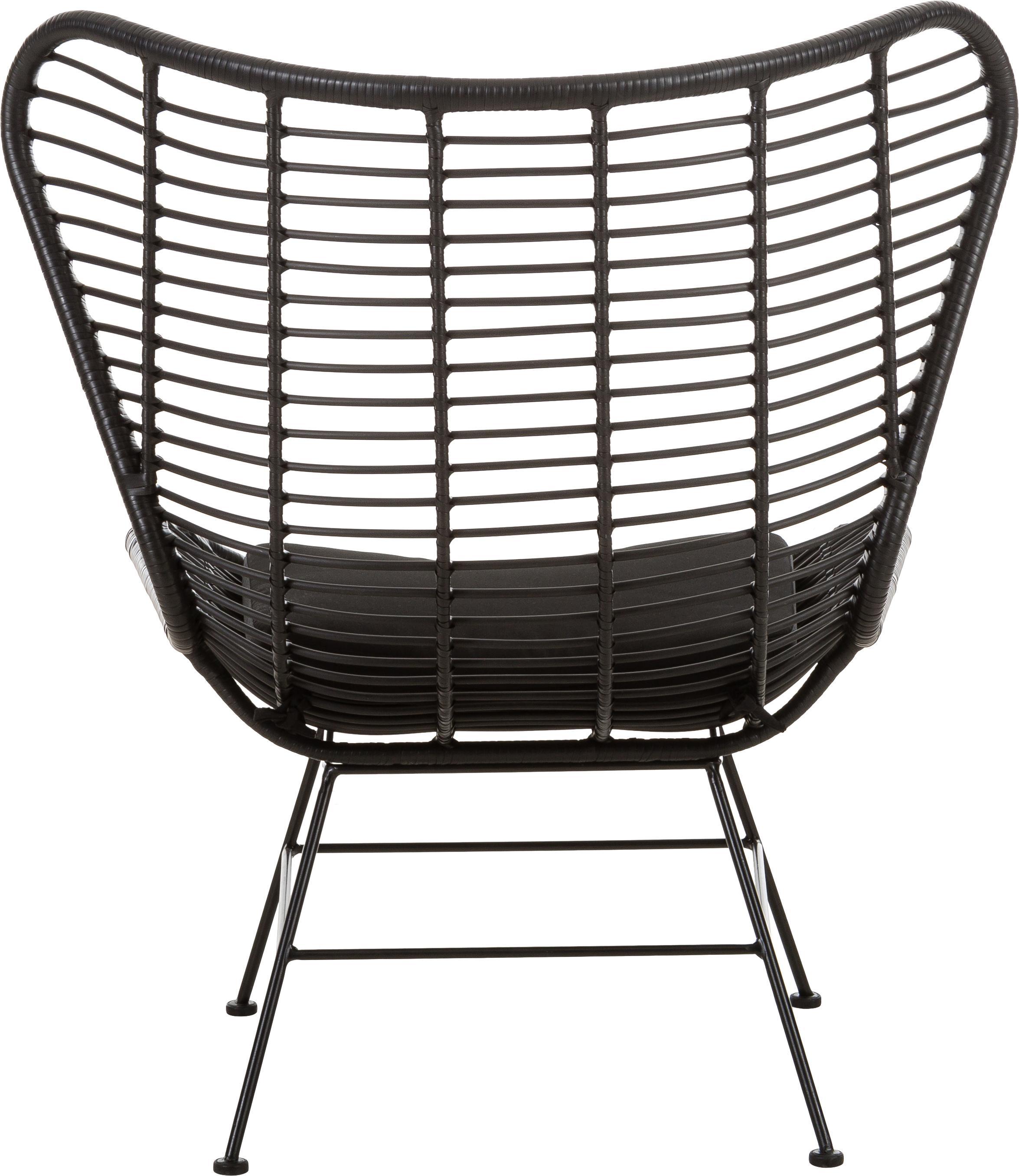 Ohrensessel Costa mit Polyrattan, Sitzfläche: Polyethylen-Geflecht, Gestell: Metall, pulverbeschichtet, Schwarz, B 90 x T 89 cm