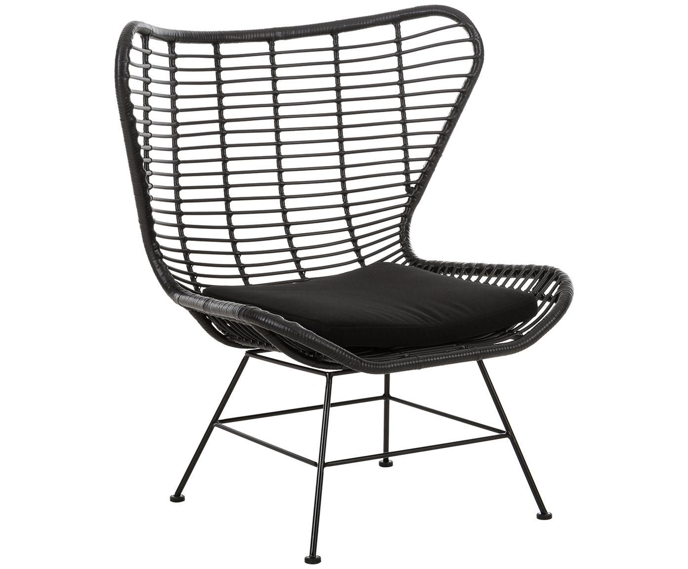 Sillón de exterior de mimbre Costa, Asiento: red de polietileno, Estructura: metal con pintura en polv, Negro, An 90 x F 89 cm