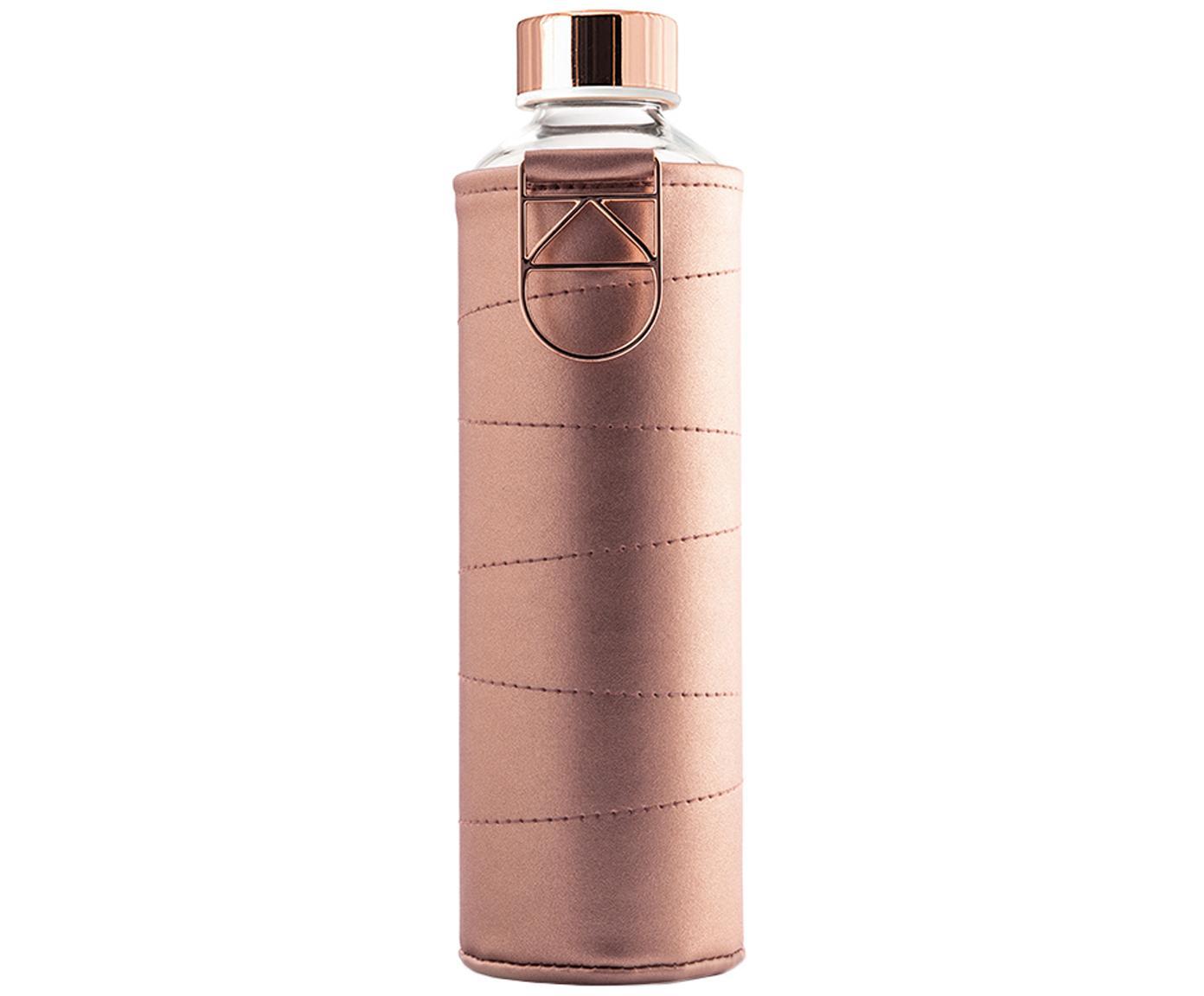 Botella Mismatch, Botella: vidrio borosilicato, Funda: cuero sintético, Rosa dorado, transparente, Ø 8 x Al 26 cm