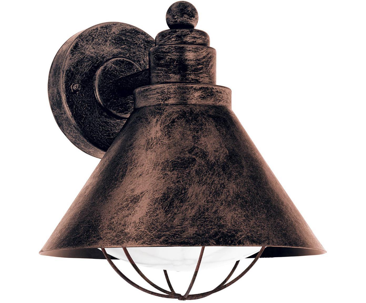 Außenwandleuchte Barrosela, Stahl, verzinkt, Kunststoff, Kupferfarben, 22 x 24 cm
