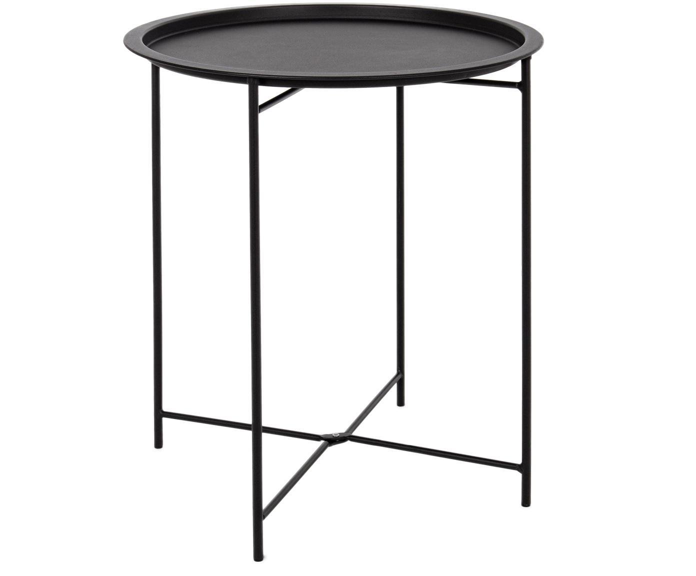 Mesa auxiliar de exterior de metal Wissant, Acero con pintura en polvo, Negro, Ø 46 x Al 52 cm