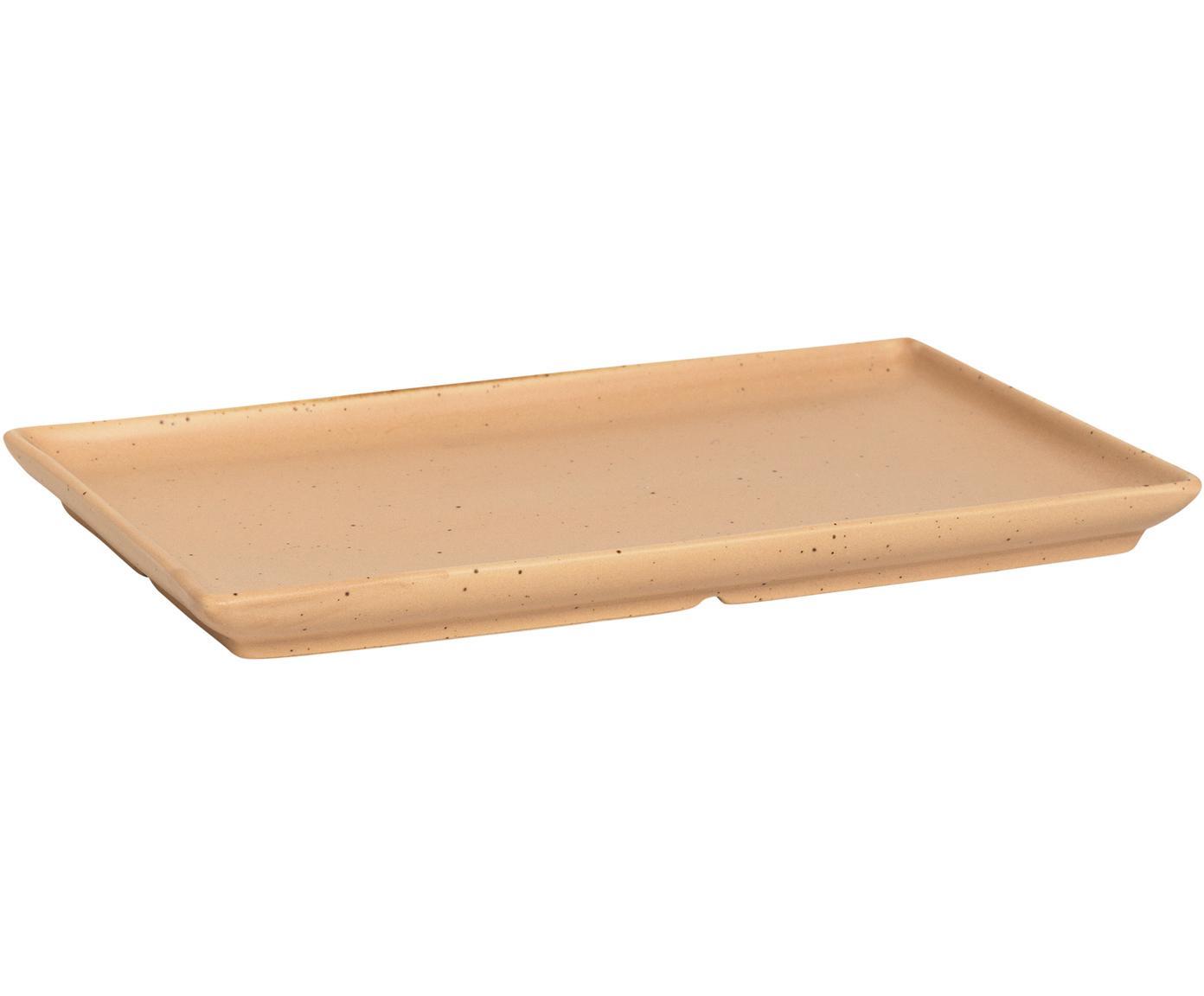 Steingut-Teller Eli mit mattem Finish, 4 Stück, Steingut, Hellbraun, Beige, 20 x 2 cm
