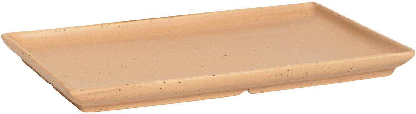 Rechteckige Steingut-Teller Eli mit mattem Finish, 4 Stück, Steingut, Hellbraun, Beige, 20 x 2 cm