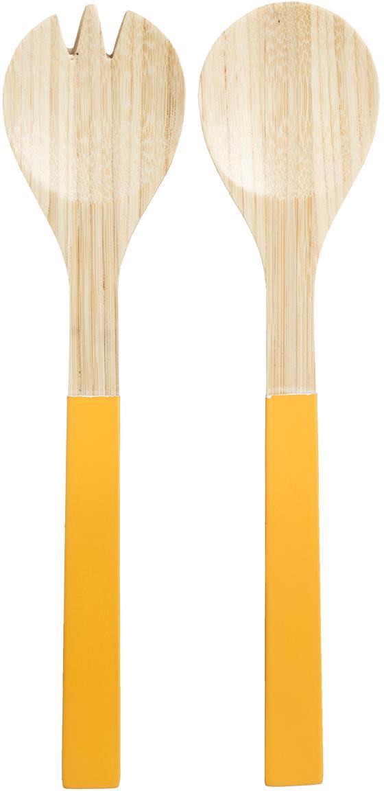 Cubiertos para ensalada de bambú Panda, 2pzas., Bambú, Amarillo, L 30 cm