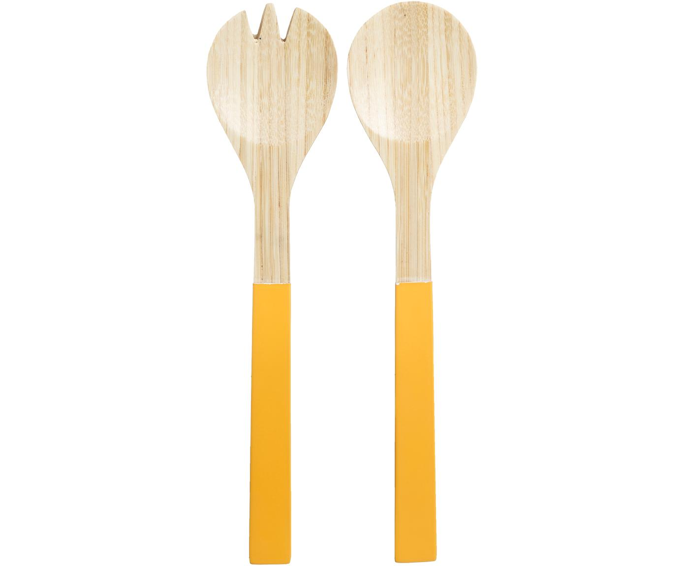 Komplet sztućców do sałatek z drewna bambusowego Panda, 2 elem., Drewno bambusowe, Żółty, D 30 cm