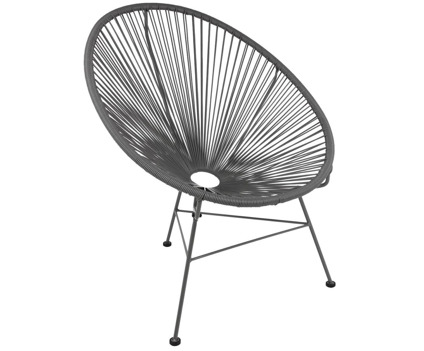 Sedia a poltrona intrecciata Bahia, Seduta: materiale sintetico, Struttura: metallo verniciato a polv, Materiale sintetico: grigio. Struttura: grigio, Larg. 81 x Prof. 73 cm
