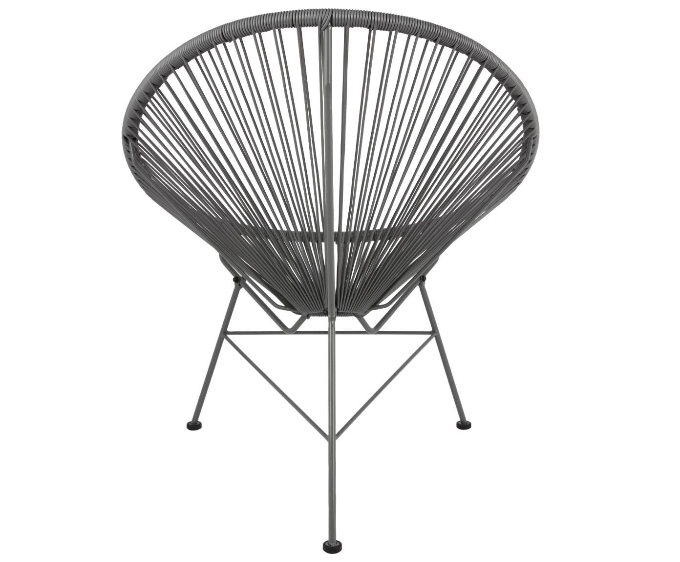 Fotel wypoczynkowy Bahia, Stelaż: metal malowany proszkowo, Tworzywo sztuczne: szary Stelaż: szary, S 81 x G 73 cm