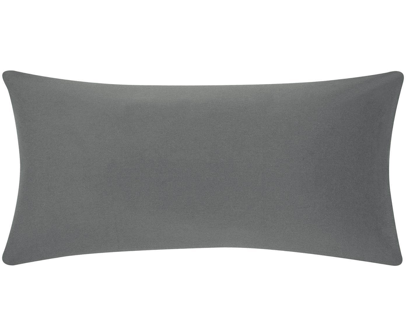 Poszewka na poduszkę ze skóry z flaneli Biba, 2 szt., Ciemny szary, S 40 x D 80 cm