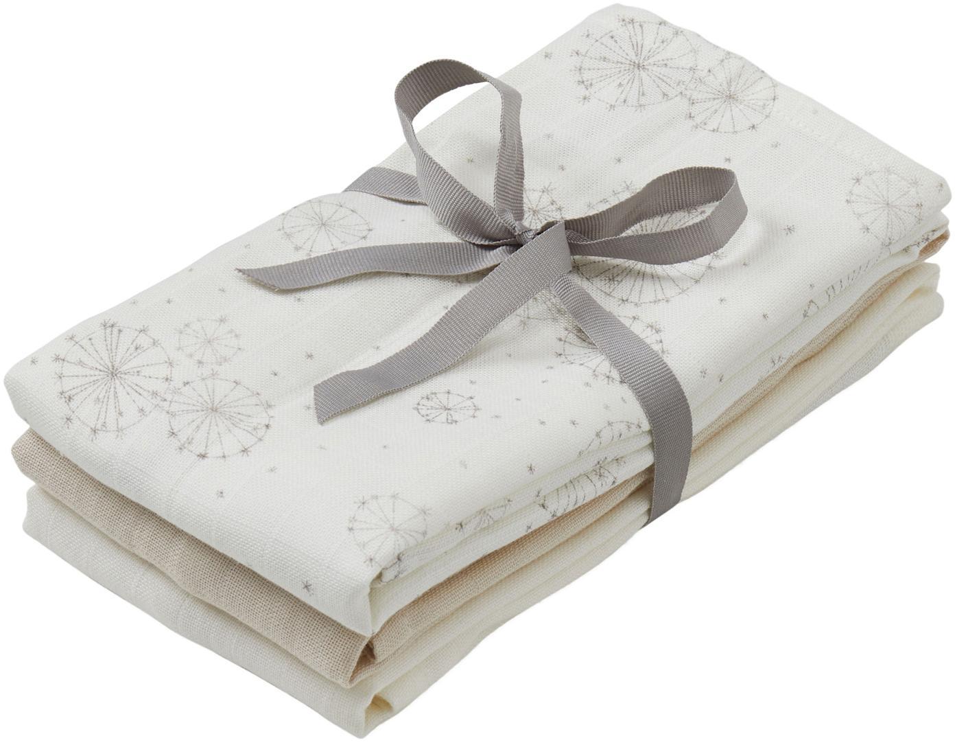 Mulltücher-Set Dandelion aus Bio-Baumwolle, 3-tlg., Bio-Baumwolle, GOTS-zertifiziert, Weiß, Beige, Creme, 70 x 70 cm
