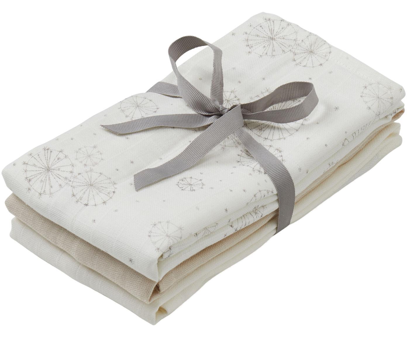 Mulltücher-Set Dandelion aus Bio-Baumwolle, 3-tlg., Bio-Baumwolle, GOTS-zertifiziert, Weiss, Beige, Creme, 70 x 70 cm