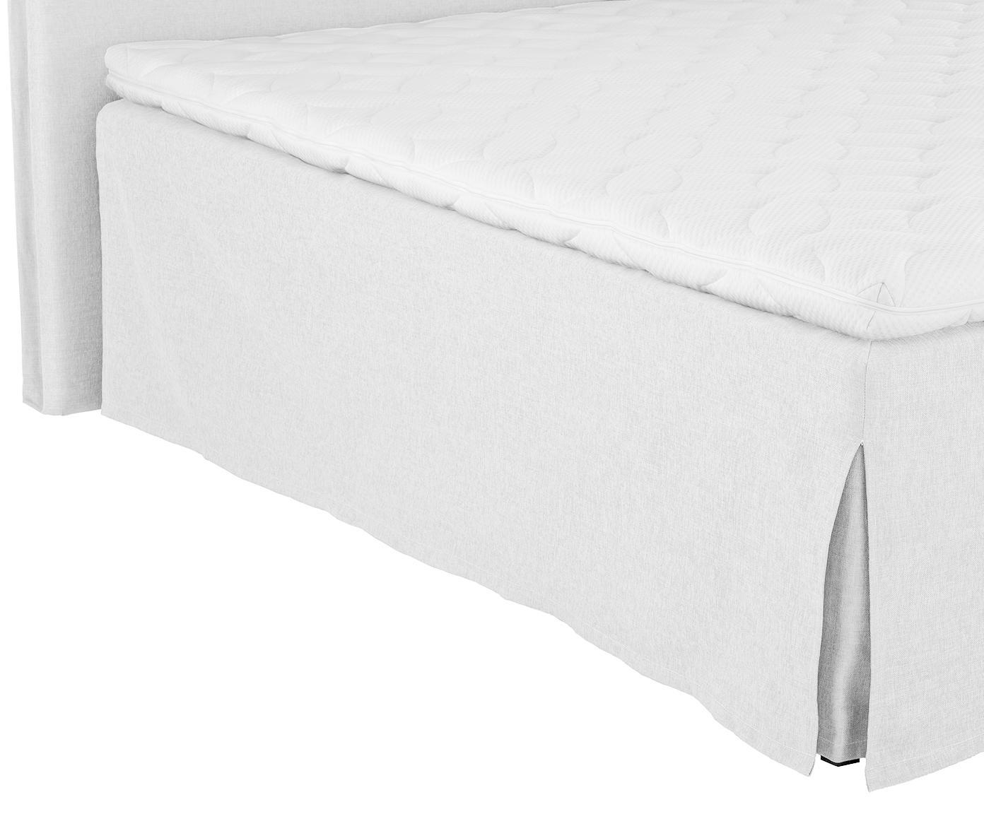 Premium boxspring bed Violet, Matras: 7-zones-pocketveringkern , Poten: massief gelakt beukenhout, Licht witgrijs, 160 x 200 cm