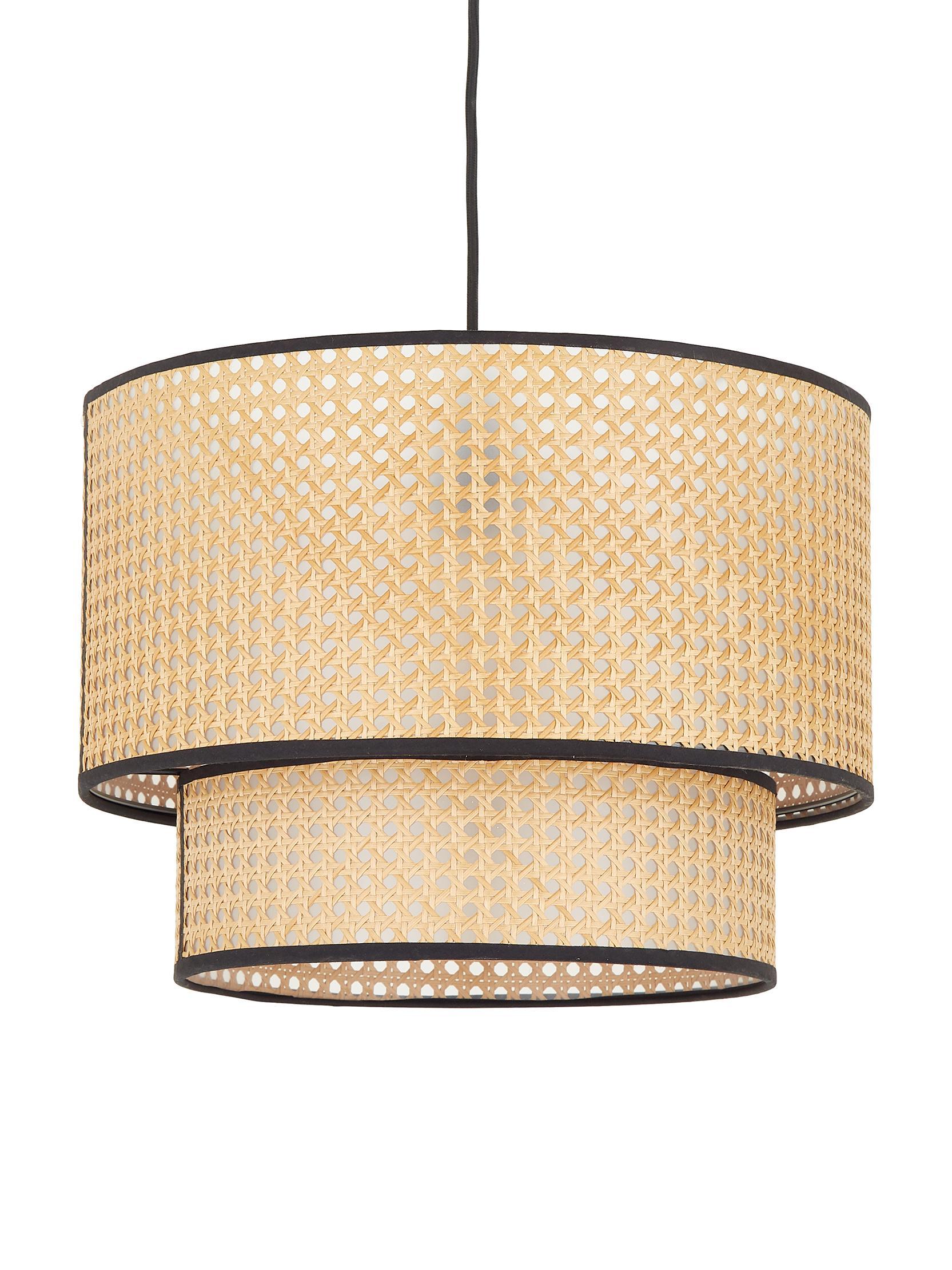 Lámpara de techo Vienna, Pantalla: plástico, Anclaje: metal con pintura en polv, Cable: tela, Beige, negro, ∅ 40 x Al 30 cm