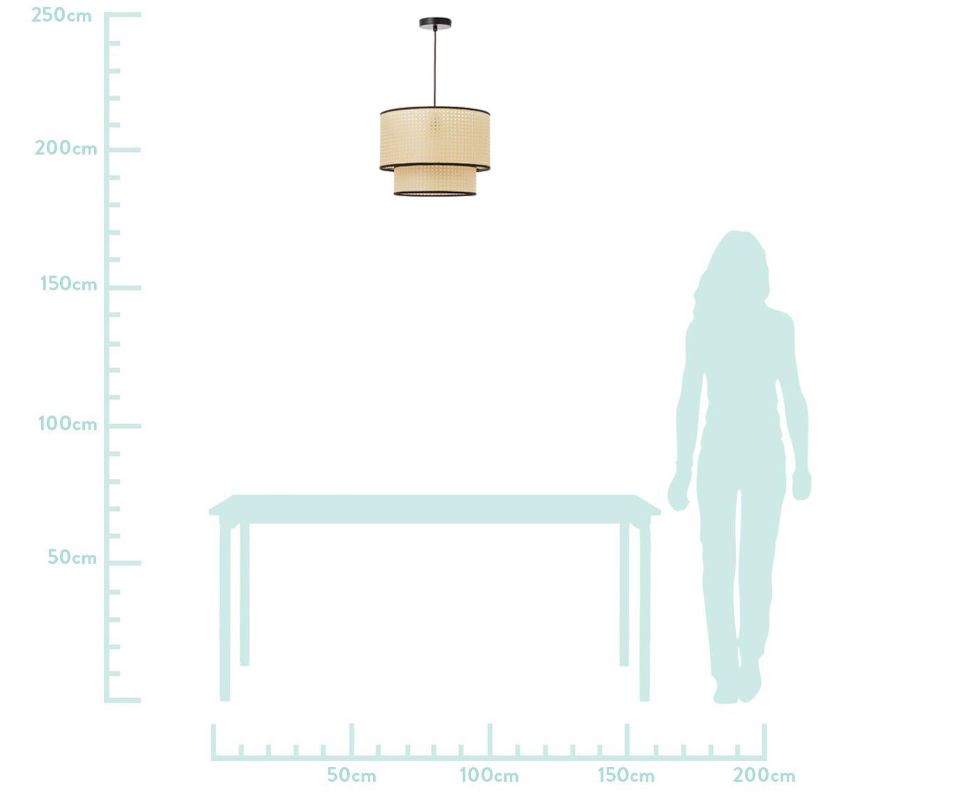 Lampa wisząca z plecionką wiedeńską Vienna, Klosz: beżowy, czarny Osłona mocowania sufitowego: czarny, matowy Kabel: czarny, Ø  40 x W 30 cm