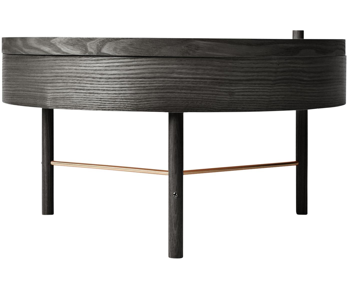 Stolik kawowy z miejscem do przechowywania Turning Table, Drewno jesionowe, fornir z drewna jesionowego, Czarny, drewno jesionowe, Ø 65 x W 36 cm