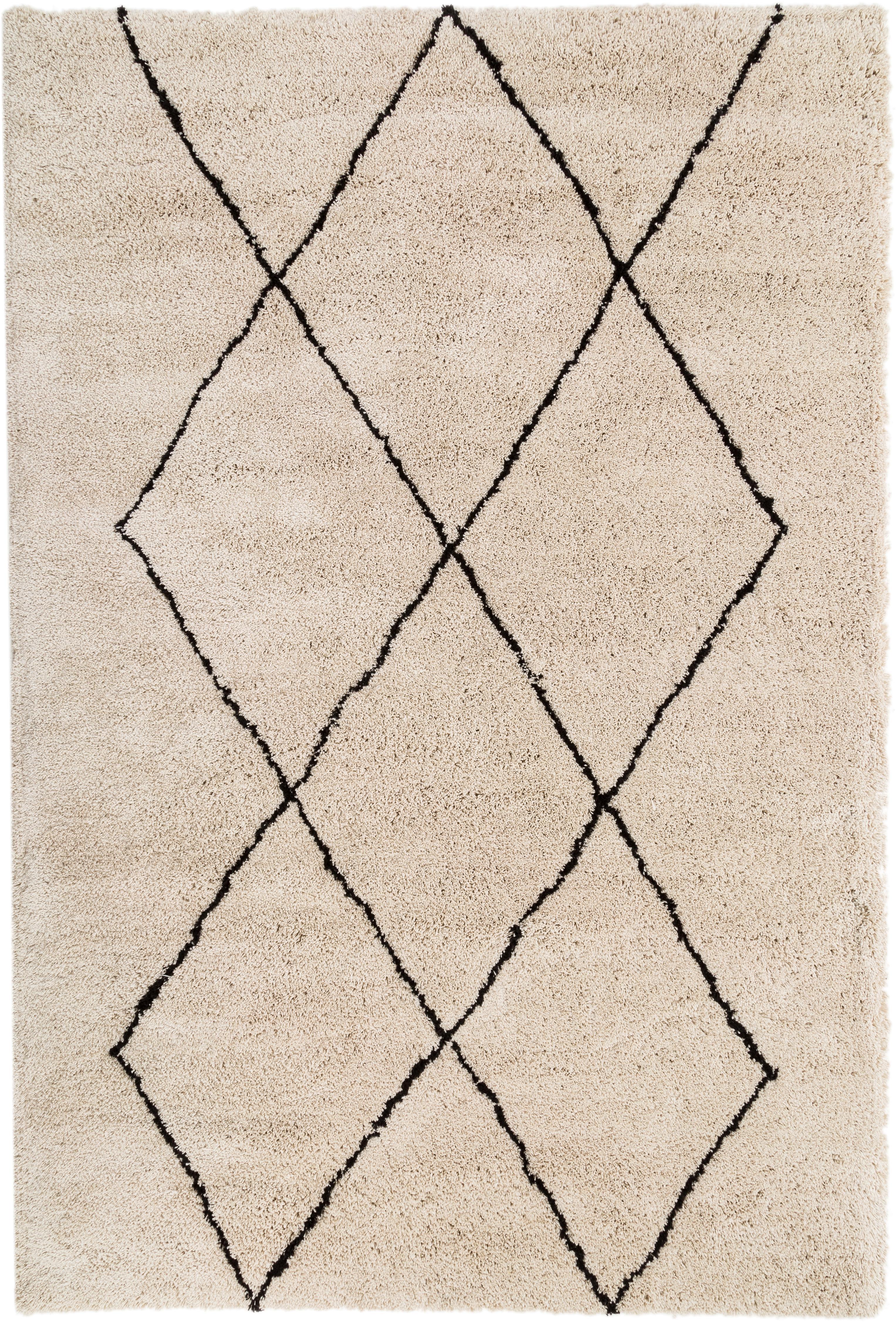 Ręcznie tuftowany dywan Nouria, Beżowy, czarny, S 200 x D 300 cm