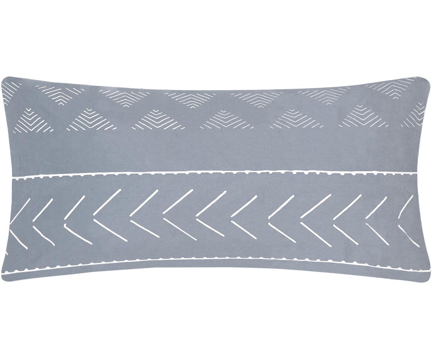 Gewaschene Baumwoll-Kissenbezüge Kohana im Boho Style, 2 Stück, Webart: Perkal Fadendichte 180 TC, Grau, Ecru, 40 x 80 cm